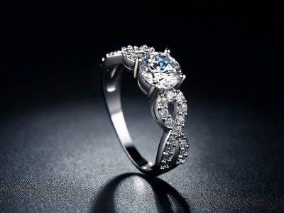 Women White Gold Plated CZ Diamond Ring